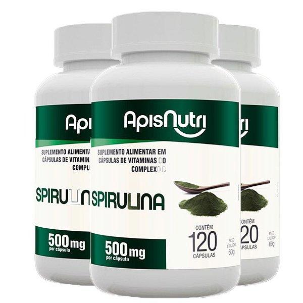 Kit 3 Spirulina Espirulina 500mg Apisnutri 120 comprimidos