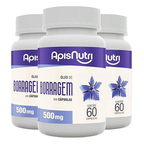 Kit 3 Óleo de Borragem 500mg Apisnutri 60 cápsulas