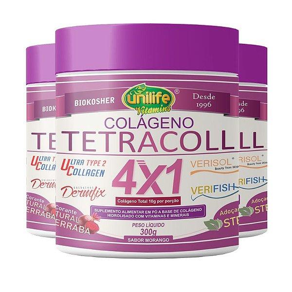 Kit 3 Colágeno 4 em 1 Tetracoll Unilife 300g Morango