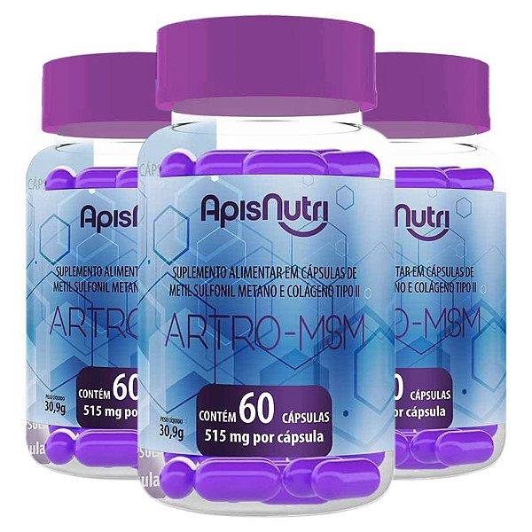 Kit 3 Artro MSM Metil Sulfonil + Colágeno tipo 2 Apisnutri 60 cápsulas