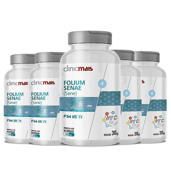 Kit 5 Sene Folium Senae 500mg MTC Clinic Mais 60 cápsulas