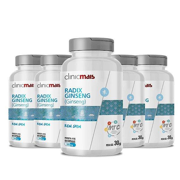Kit 5 Ginseng Radix Ginseng 500mg MTC Clinic Mais 60 cápsulas
