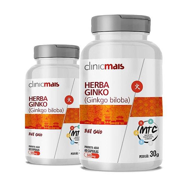 Kit 2 Herba Ginko Ginkgo Biloba 500mg MTC Clinic Mais 60 cápsulas