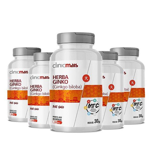 Kit 5 Herba Ginko Ginkgo Biloba 500mg MTC Clinic Mais 60 cápsulas