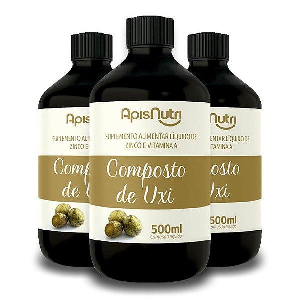 Kit 3 Composto de Uxi Zinco e Vitamina A 500ml Apisnutri