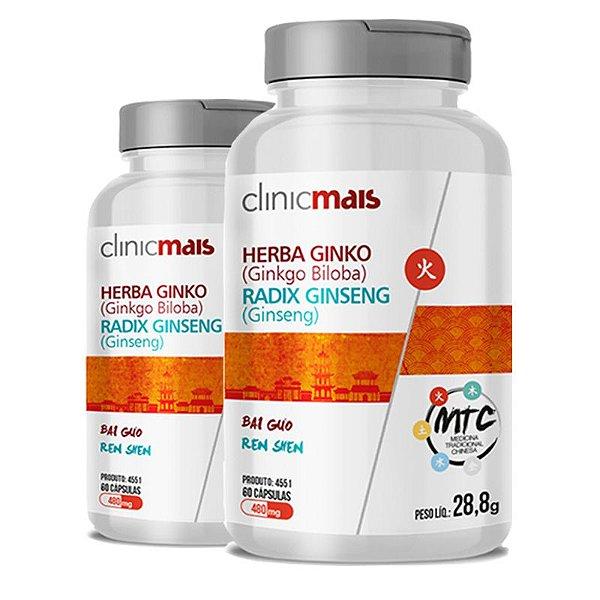 Kit 2 Herba Ginko Radix Ginseng 500mg MTC Clinic Mais 60 cápsulas