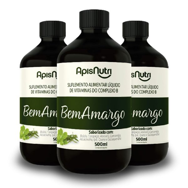 Kit 3 Bem Amargo Composto Vitaminico 500ml Apisnutri