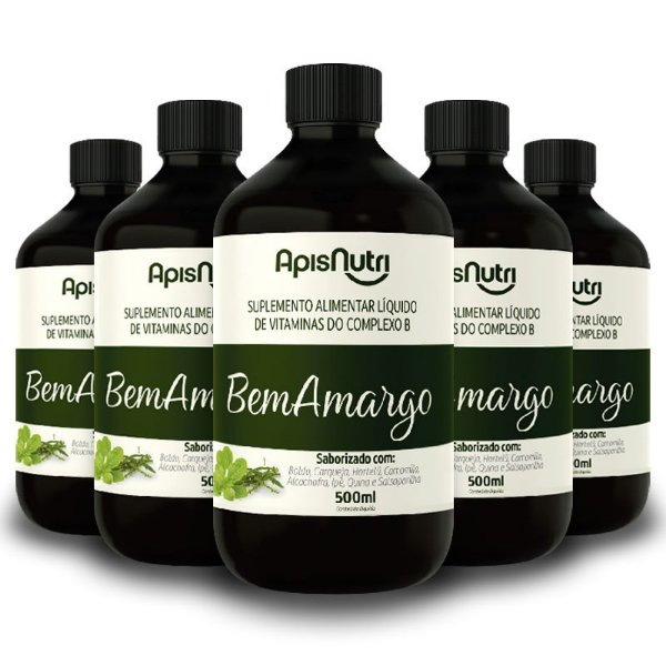 Kit 5 Bem Amargo Composto Vitaminico 500ml Apisnutri