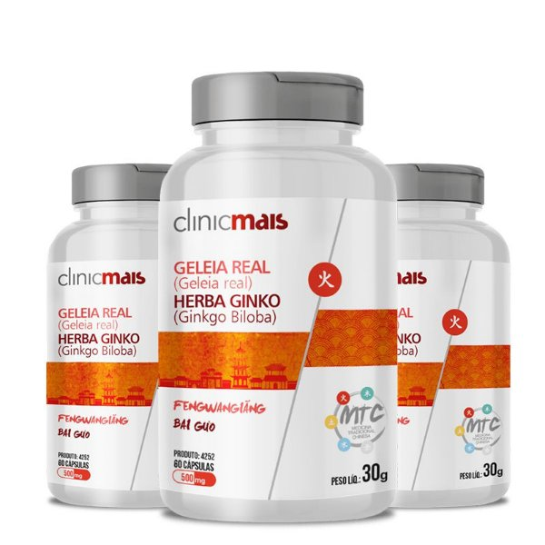 Kit 3 Geleia Real + Herba Ginko 500mg MTC Clinic Mais 60 cápsulas