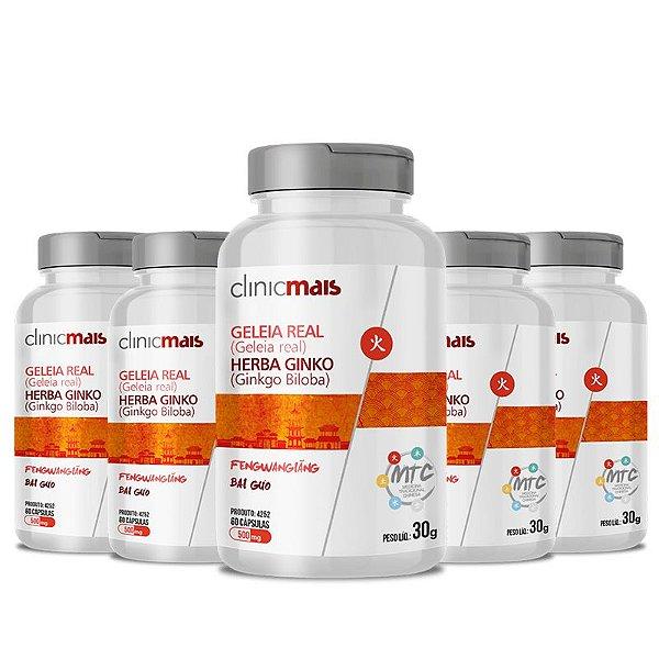 Kit 5 Geleia Real + Herba Ginko 500mg MTC Clinic Mais 60 cápsulas