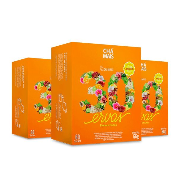 Kit 3 Chá Misto 30 Ervas Flores e Frutas Chá Mais 60 Sachês