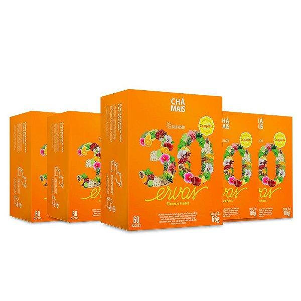 Kit 5 Chá Misto 30 Ervas Flores e Frutas Chá Mais 60 Sachês