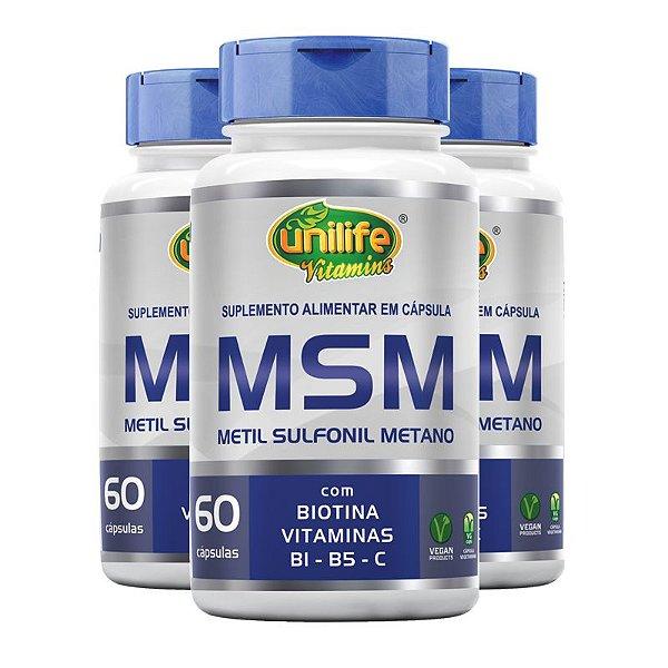 Kit 3 MSM Metil Sufonil Metano + Biotina e Vitamina Unilife 60 cápsulas