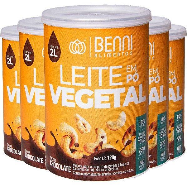 Kit 5 Leite de Castanha de Caju em pó Benni 120g Chocolate