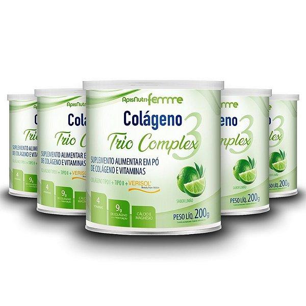 Kit 5 Colágeno Duplo Complex Tipo 2 + Tipo 1 Apisnutri 200g Limão