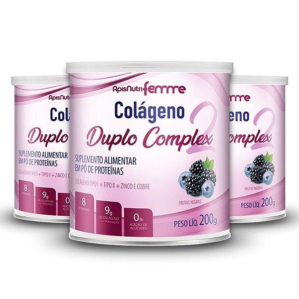 Kit 3 Colágeno Duplo Complex Tipo 2 + Tipo 1 Apisnutri 200g Frutas Negras