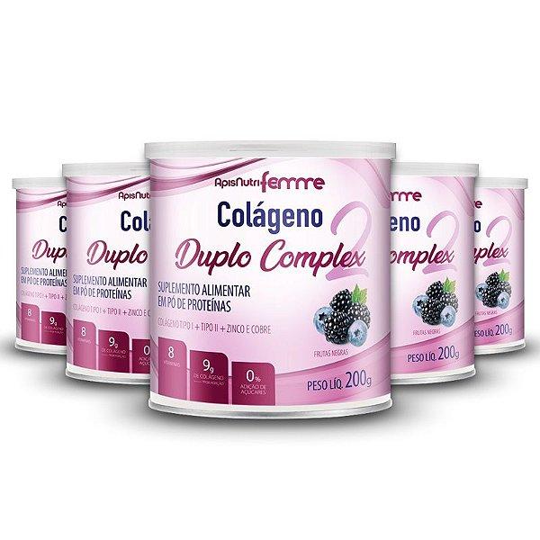 Kit 5 Colágeno Duplo Complex Tipo 2 + Tipo 1 Apisnutri 200g Frutas Negras