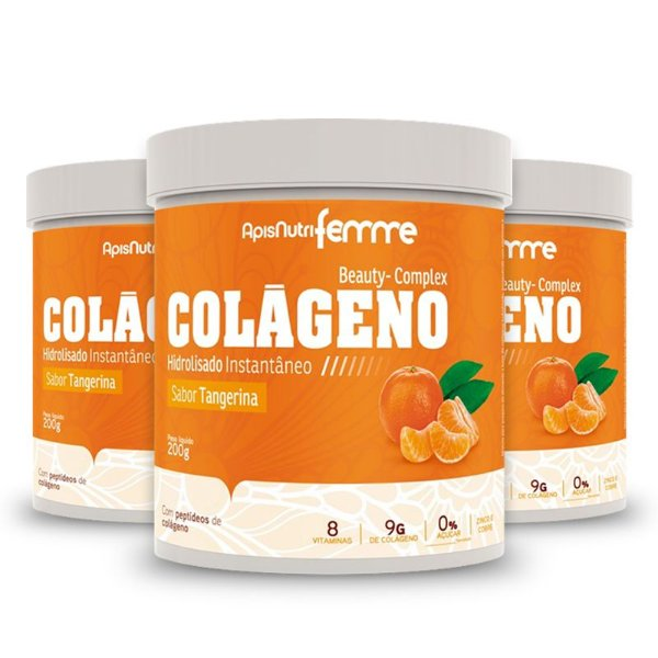 Kit 3 Colágeno Hidrolisado Beauty Complex Apisnutri 200g Tangerina