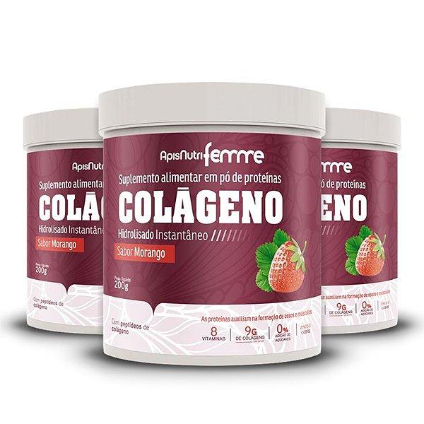 Kit 3 Colágeno Hidrolisado Beauty Complex Apisnutri 200g Morango