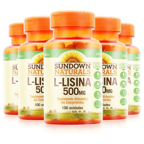 Kit 5 L-Lisina 500mg Sundown Naturals 100 comprimidos