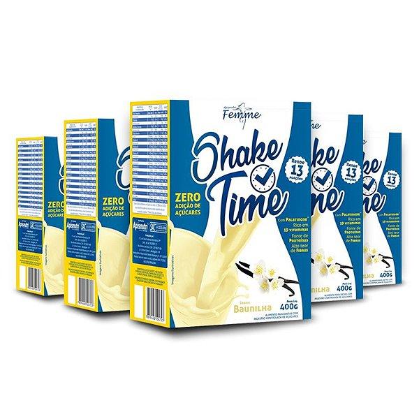 Kit 5 Shake Time Substituto de refeição Apisnutri 400g Baunilha