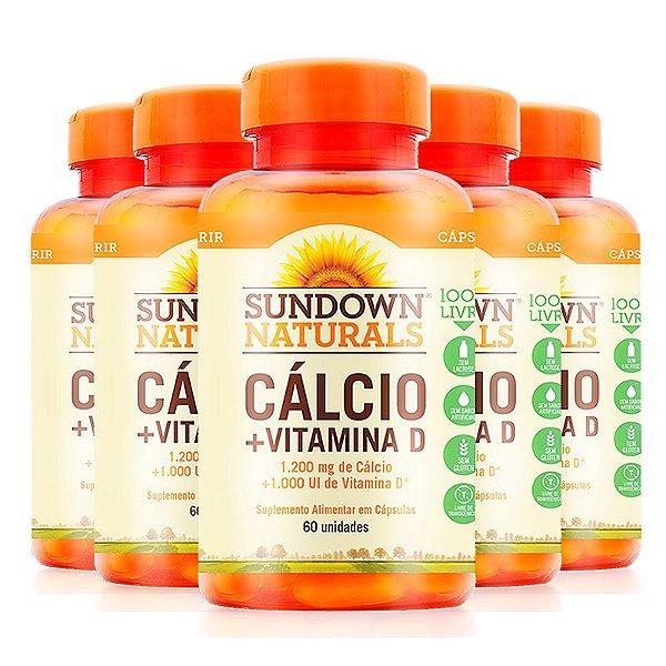 Kit 5 Cálcio + Vitamina D 1000ui Sundowns 60 cápsulas Softgel