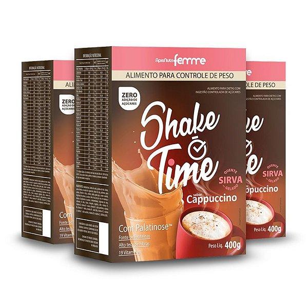 Kit 3 Shake Time Substituto de Refeição Apisnutri 400g Cappuccino