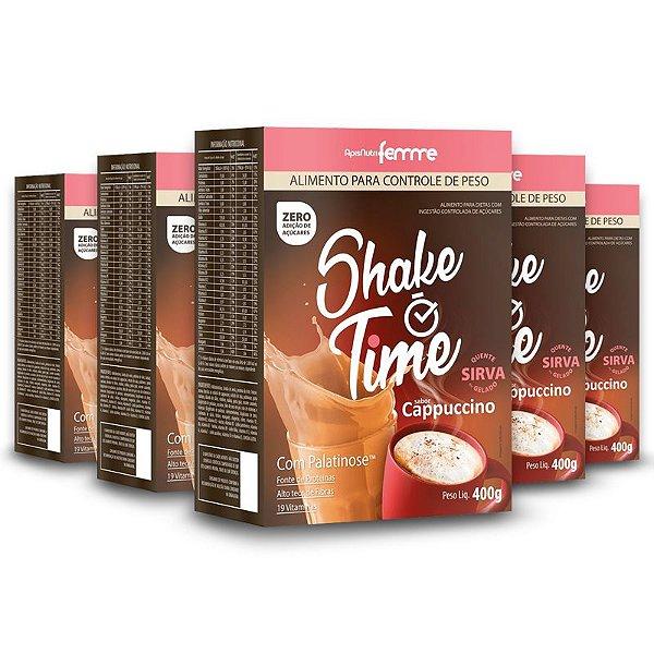 Kit 5 Shake Time Substituto de Refeição Apisnutri 400g Cappuccino