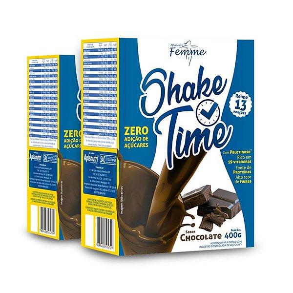 Kit 2 Shake Time Substituto de Refeição Apisnutri 400g Chocolate