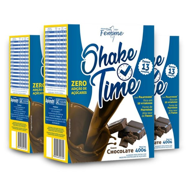 Kit 3 Shake Time Substituto de Refeição Apisnutri 400g Chocolate