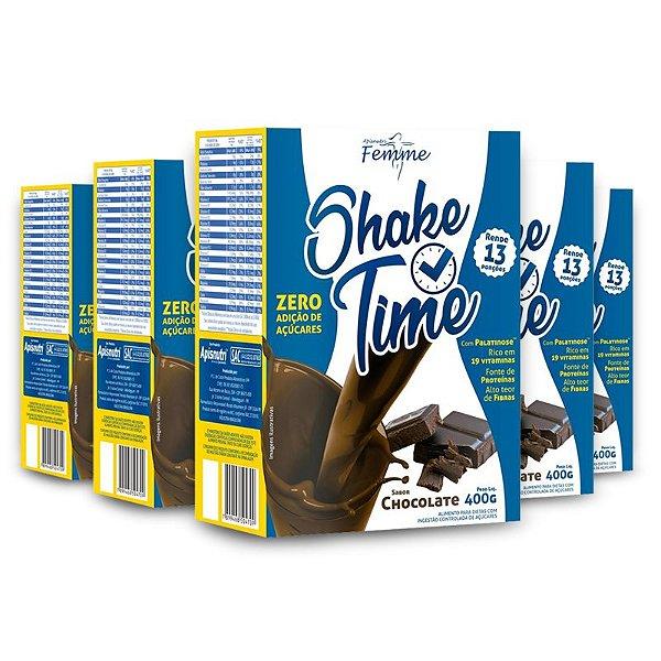 Kit 5 Shake Time Substituto de Refeição Apisnutri 400g Chocolate