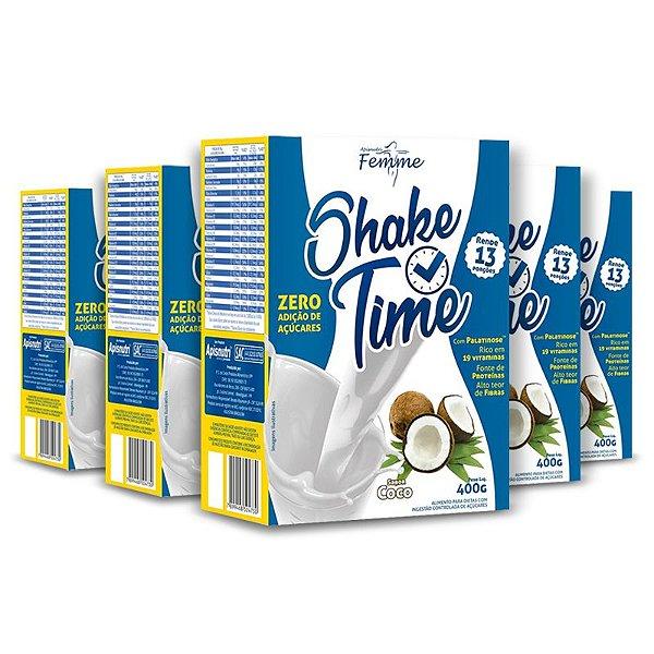 Kit 5 Shake Time Substituto de Refeição Apisnutri 400g Coco
