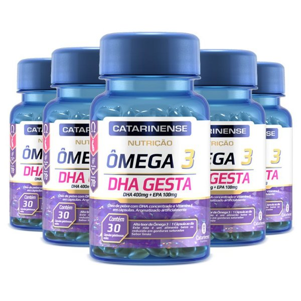 Kit 5 Ômega 3 DHA Gesta Catarinense 30 cápsulas
