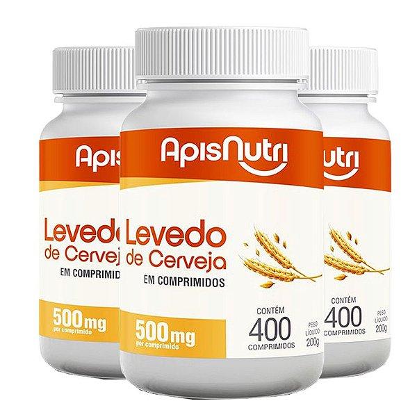 Kit 3 Levedo de Cerveja Apisnutri 400 comprimidos 500mg