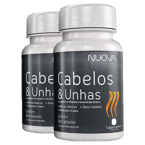 Kit 2 Nuova Cabelos e Unhas Biotina Catarinense 60 cápsulas