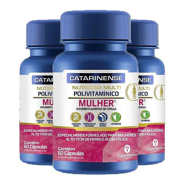 Kit 3 Polivitamínico Mulher Catarinense 60 cápsulas