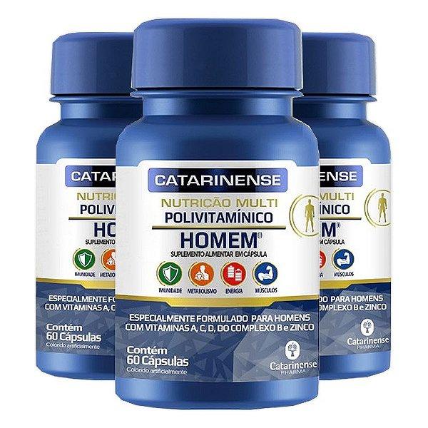 Kit 3 Polivitamínico Homem Catarinense 60 cápsulas