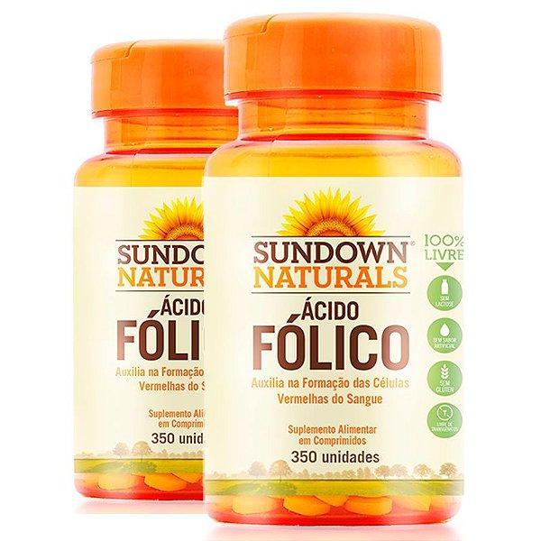 Kit 2 Ácido Fólico 400mcg  Vitamina B9 Sundown 350 comprimidos