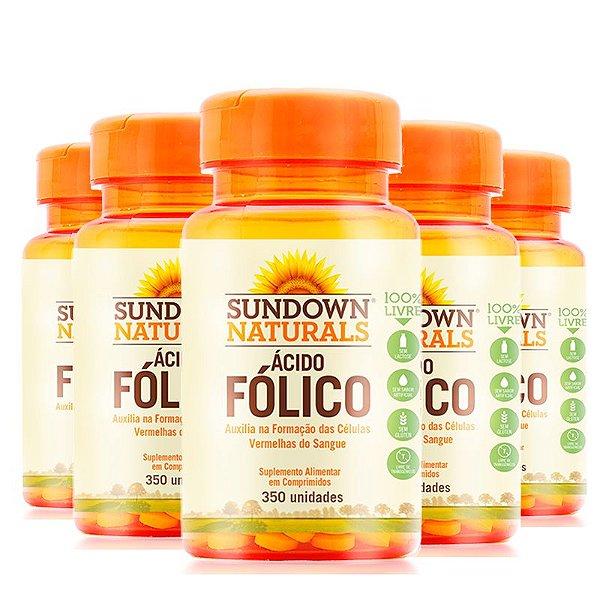 Kit 5 Ácido Fólico 400mcg  Vitamina B9 Sundown 350 comprimidos