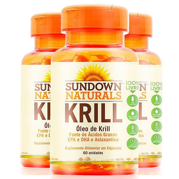 Kit 3 Óleo de Krill 1000mg Sundown Naturals 60 cápsulas