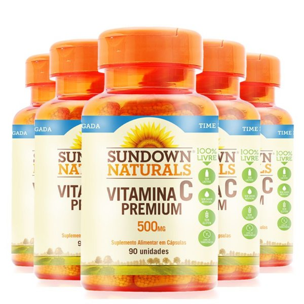 Kit 5 Vitamina C Premium 500mg Sundown 90 comprimidos