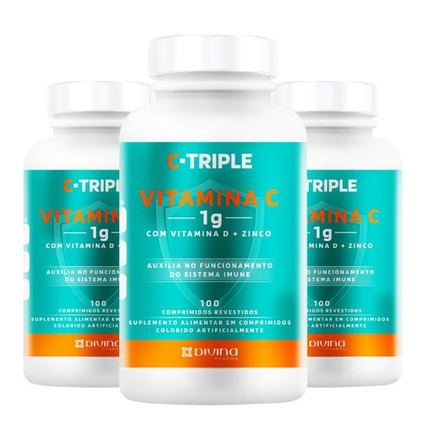 Kit 3 C-Triple Vitamina C 1000mg + Zinco + D Divina 100 cápsulas