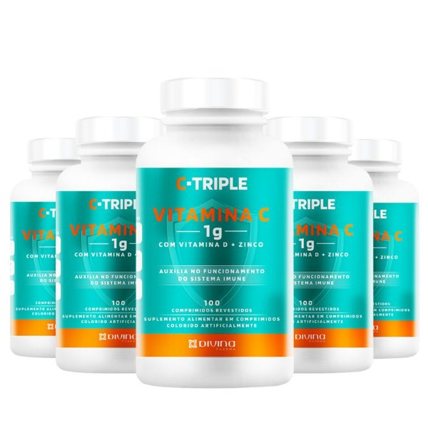 Kit 5 C-Triple Vitamina C 1000mg + Zinco + D Divina 100 cápsulas