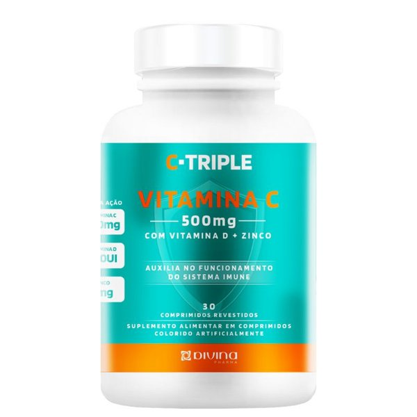 C-Triple Vitamina C 500mg + Zinco + D Divina 30 cápsulas