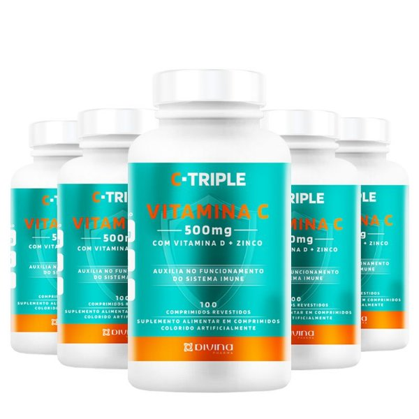 Kit 5 C-Triple Vitamina C 500mg + Zinco + D Divina 100 cápsulas