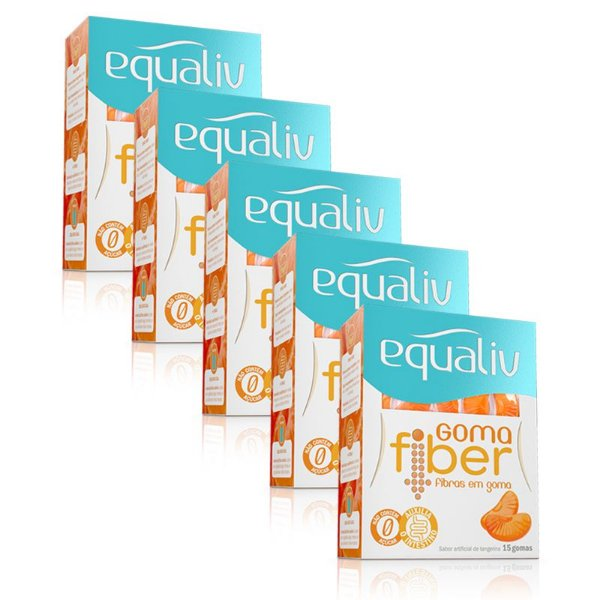 Kit 5 Goma Fiber Fibras Prebiótica Equaliv 15 gomas