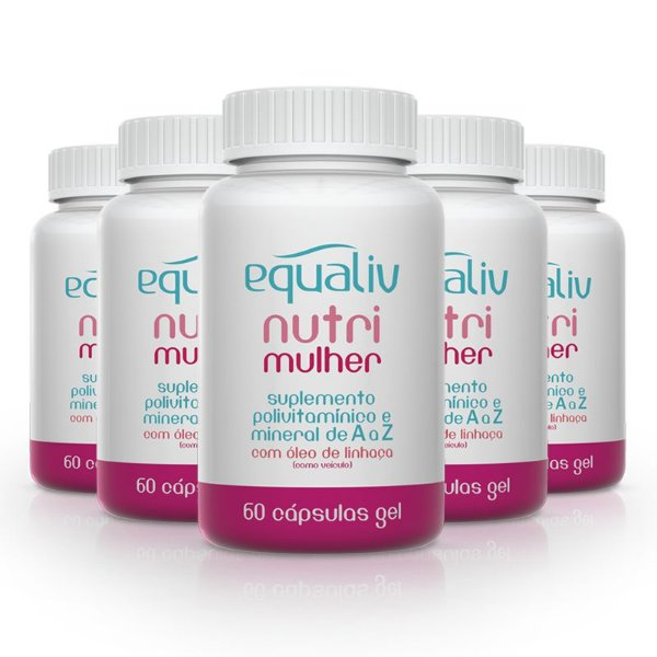 Kit 5 Nutri Mulher Polivitamínico de A a Z Equaliv 60 cápsulas gel