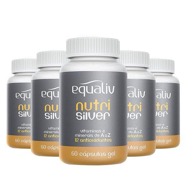 Kit 5 Nutri Silver Polivitamínico de A a Z Equaliv 60 cápsulas gel