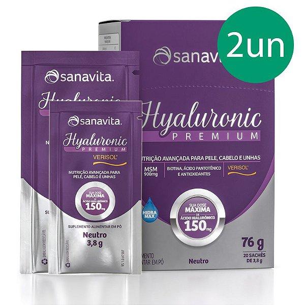 Kit 2 Hyaluronic Premium Ácido Hialurônico + Verisol Sanavita 20 Sachês Neutro