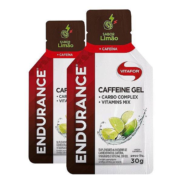 Kit 2 Endurance Caffeine Gel Vitafor Caixa 12 sachês Limão
